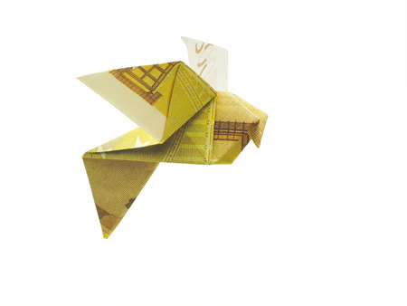 origami birds from 200 euro banknotes photo