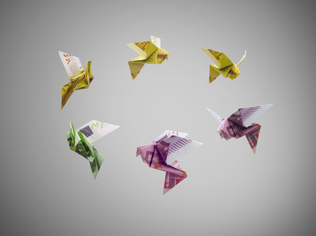 origami birds of euro money fly out Stock Photo