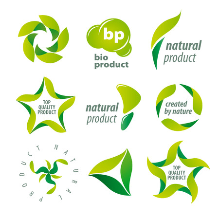 set of icons for organic natural products