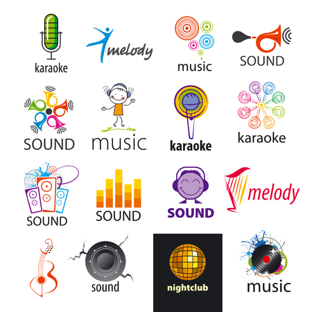 set of vector icons sounds and music Illustration