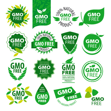 big set of vector icons natural products without GMOs