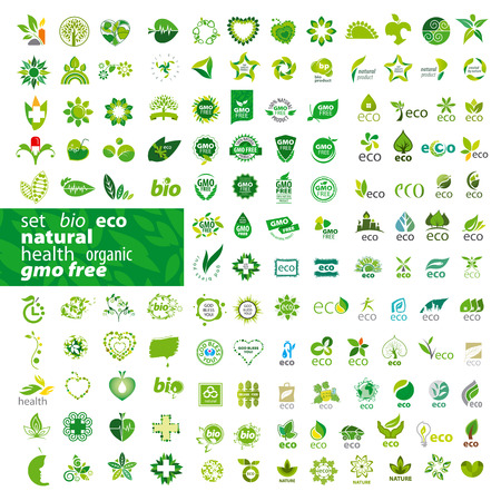 nature pattern: big set of vector icons ecology, health, natural