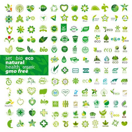 gran conjunto de iconos vectoriales ecología, salud, natural Vectores