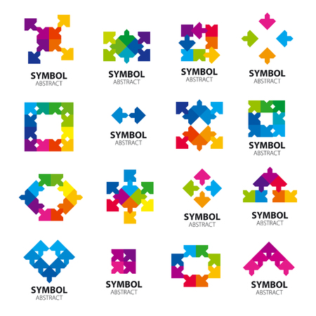 Collection of vector icons of abstract modules