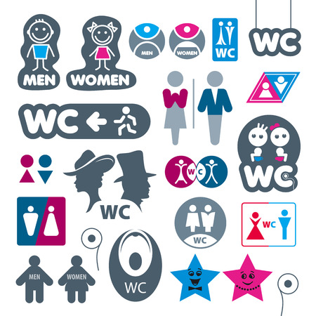 toilet sign: biggest collection of vector labels toilet Illustration