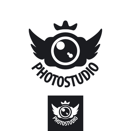 camera vector icon with crown and wings Vector