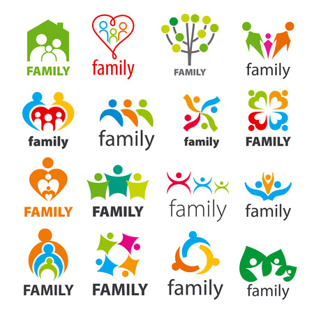 large collection of vector icons family Ilustrace