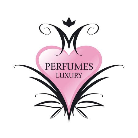 maquillage: vector icon pink heart for perfumes