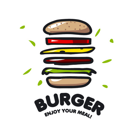 burger: vector icon burger for fast food