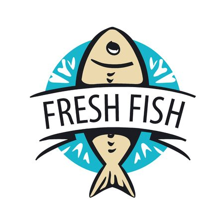 frozen fish: vector icon fresh fish in a circle and tape Illustration