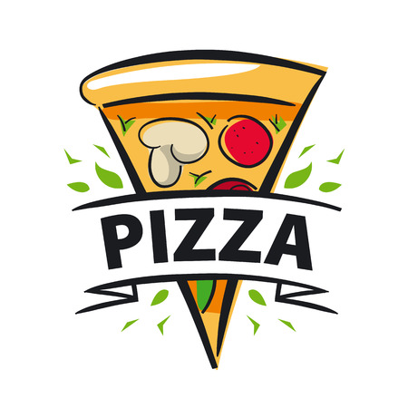 vector icon slice of pizza and ribbon