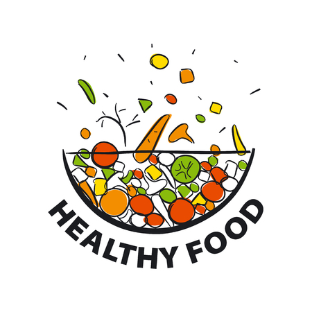 eating healthy: vector icon fresh vegetables for a healthy diet