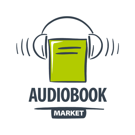 green book: vector icon green book with headphones Illustration