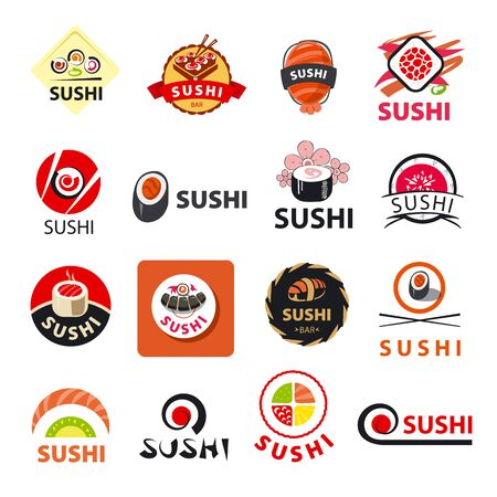 biggest collection of vector icons sushi Vector