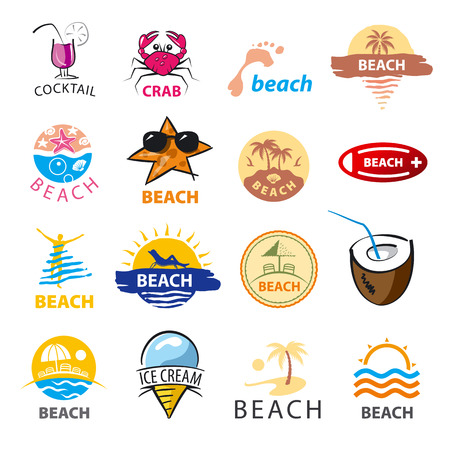 crab legs: biggest collection of vector icons beach, palm trees, sea