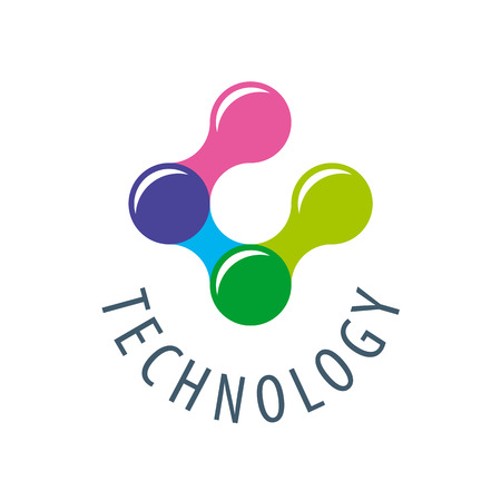 information symbol: colored atoms for technology Illustration