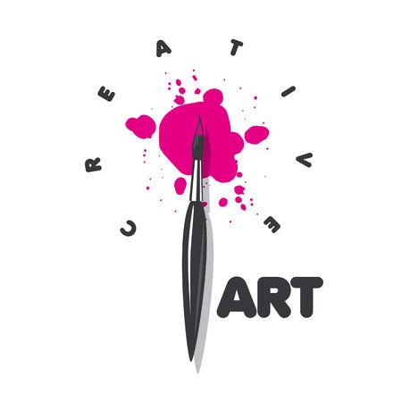 artistas: vector logo pincel y manchas de pintura