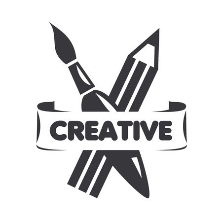 craft product: vector logo brush and pencil for creativity