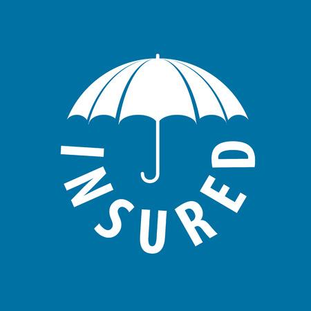 insured: vector logo under the protection umbrella