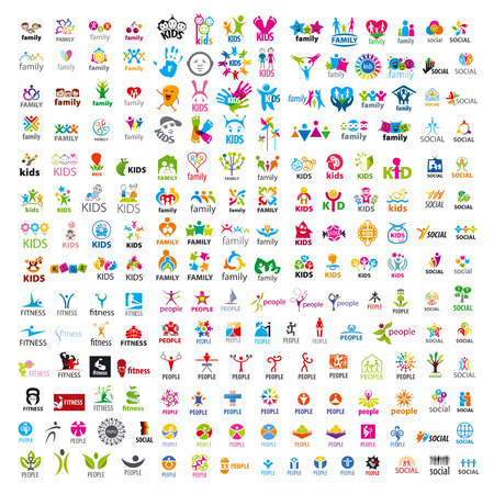 healthy exercise: biggest collection of vector logos people