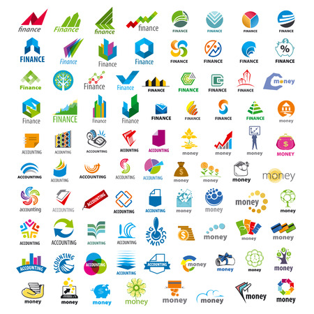 accounting design: large set of vector logos Finance