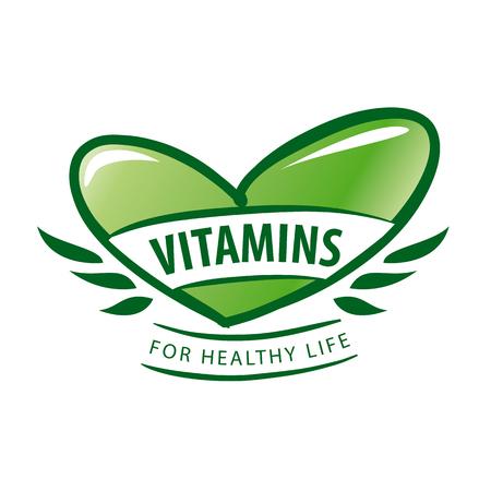 pilule: vector vitaminas como un coraz�n verde