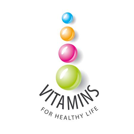 pilule: logo vector vitaminas en forma de bolas de colores Vectores