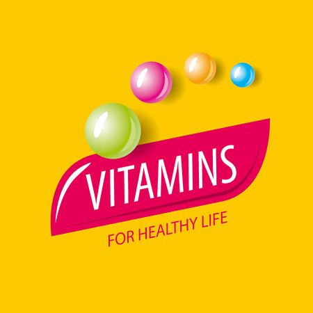 pilule: logo vector vitaminas en forma de cápsulas de colores Vectores