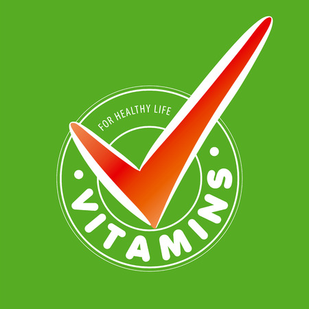 vitamins: vector vitamins on green background