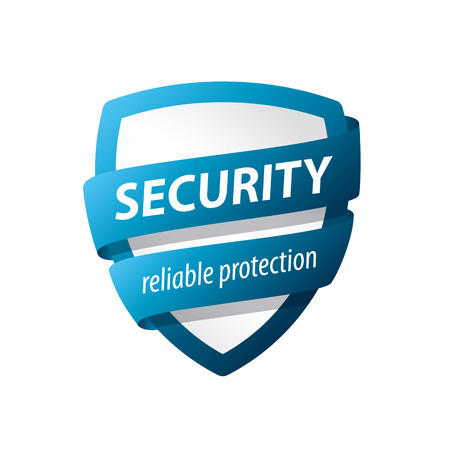 password protection: vector blue shield for protection