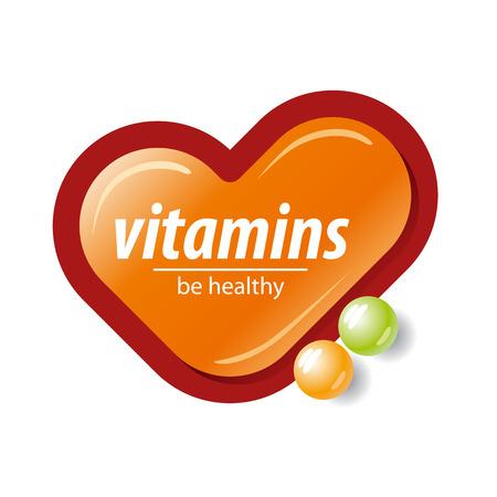 pilule: logo vector vitaminas marca de verificación de color naranja