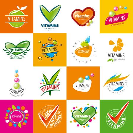 grote reeks van vector vitaminen Stock Illustratie
