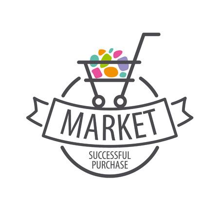 supermarket cart: Round icon shopping cart
