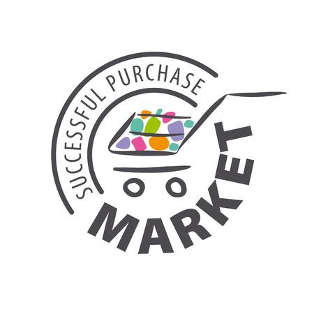 Ronde vector logo winkelwagentje van goederen
