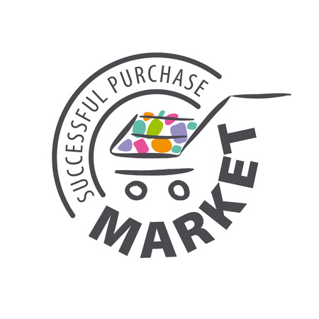 shopping cart icon: Round vector logo shopping trolley of goods