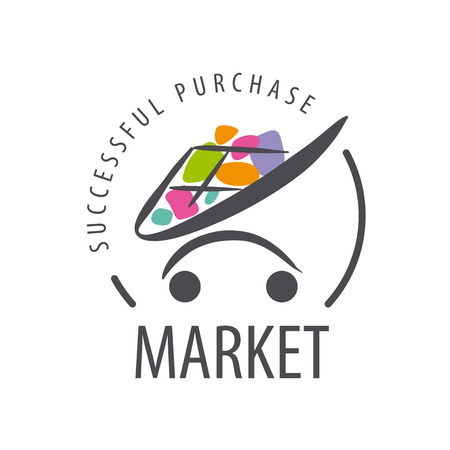 supermercado: vector logo carretilla de las compras de bienes