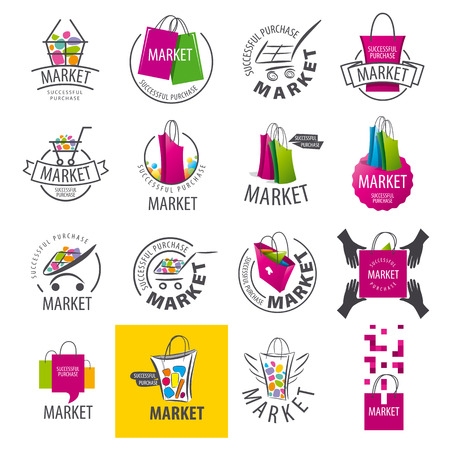 shopping baskets: large set of vector logos for market