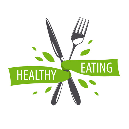 eating healthy: vector logo fork and knife for a healthy diet Illustration