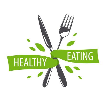logos restaurantes: vector logo tenedor y cuchillo para una dieta saludable Vectores
