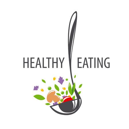 vector logo pollepel en groenten voor een gezonde voeding Stock Illustratie