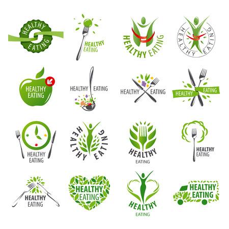 duży zestaw wektora zdrowego odżywiania Ilustracje wektorowe