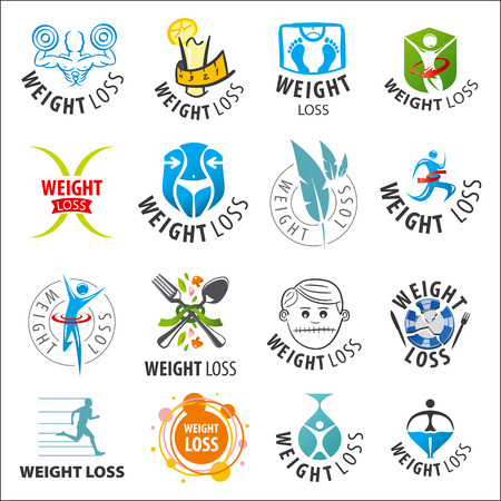weight loss man: large set of vector logos weight loss