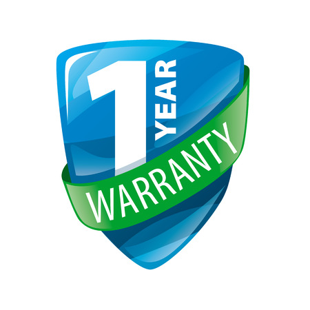 vector logo in the form of shield 1-year warranty