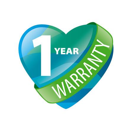guaranty: vector logo in the form of heart 1-year warranty