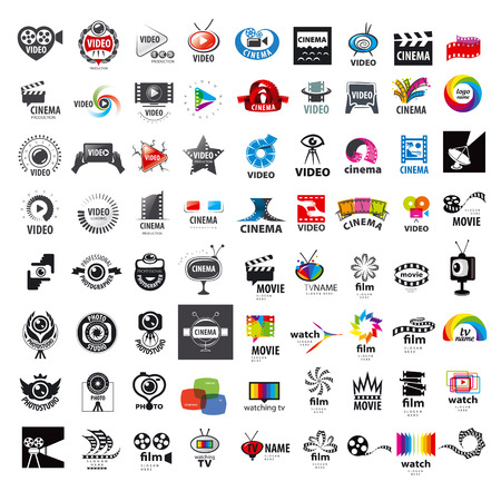 large set of vector logos photo and video production Vettoriali
