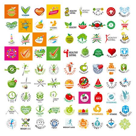 logo de comida: gran conjunto de vectores logotipo de un estilo de vida saludable Vectores