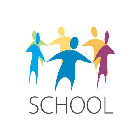 school education: vector logo people holding hands