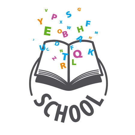 logo vector: vector logo open book and flying multicolored letters