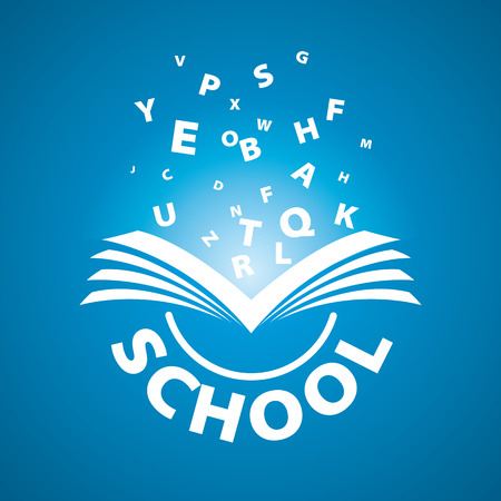 open diary: vector logo from the book flying letters Illustration