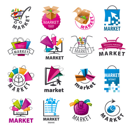shopping baskets: biggest collection of vector logos for market Illustration